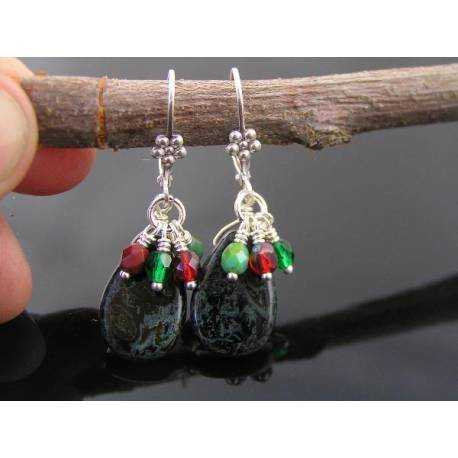 Christmas Earrings with Czech Glass Beads