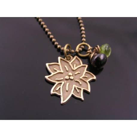 Poinsettia Necklace with Peridot and Garnet