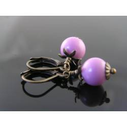 Cute Earrings with Phosphosiderite, Rare Gemstone