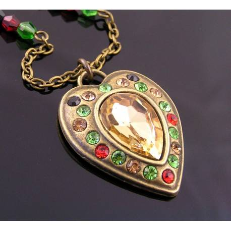 Ornate Crystal Set Heart Necklace, Festive Christmas Necklace