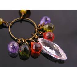 Colourful Gemstone Necklace with Genuine Cubic Zirconia