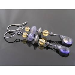 Iolite and Citrine Earrings, Sterling