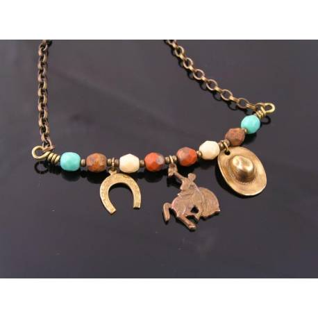 Cow Girl, Rodeo, Horse Necklace with Charms and Czech Beads