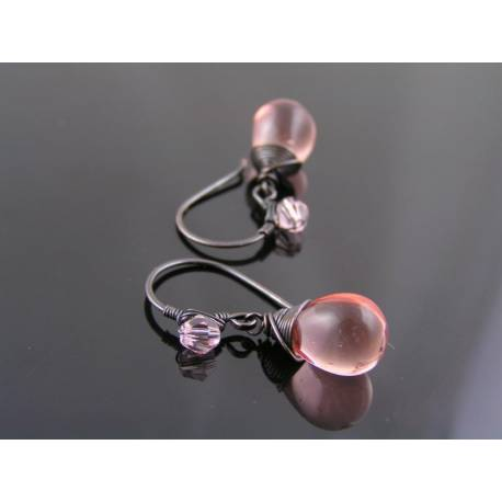Pink Czech Glass Teardrop Earrings