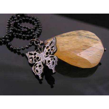 Huge Brown Quartz Drop Necklace with Black Butterfly