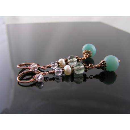 Amazonite, Pearl and Fluorite Earrings