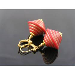 Cone Shaped Red and Gold Earrings