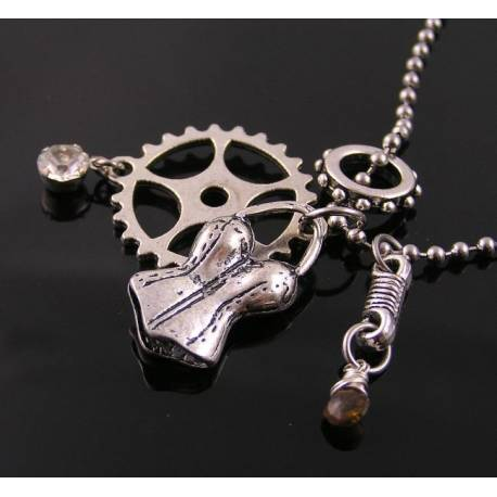 Steampunk Necklace with Tourmaline