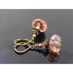 Peach Pink Crystal Earrings