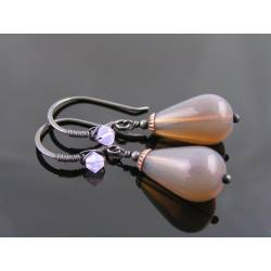 Smoky Topaz Opal Czech Drop Earrings, Wire Wrapped Ear Wires