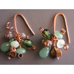Green Gemstones and Copper Earrings