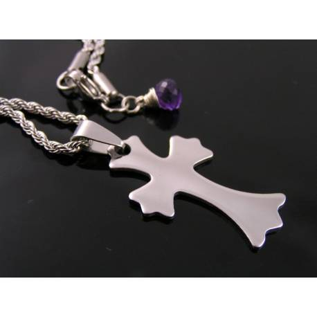 Cross Necklace with Amethyst Charm, Birthstone Necklace