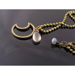 Crescent Moon Necklace with Grey Moonstone and Labradorite