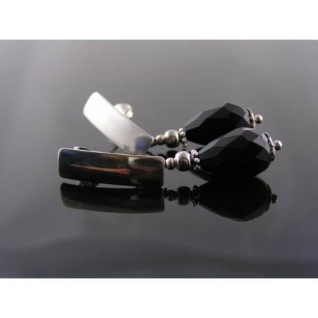 Dramatic Black Crystal Stainless Steel Earrings