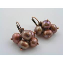 Copper Pearl Pom Pom Earrings