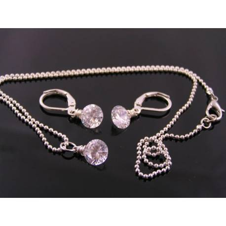 Cubic Zirconia Solitaire Necklace and Earrings Set
