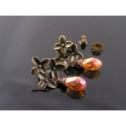 Bright Crystal Flower Earrings