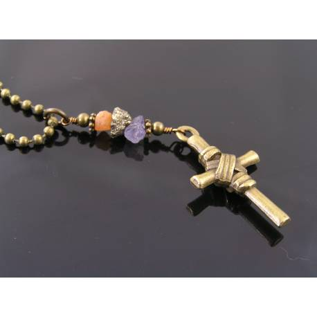 Wrapped Cross Necklace with Mandarin Garnet, Iolite and Pyrite Nugget