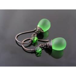 Matte Green Czech Glass Teardrop Earrings