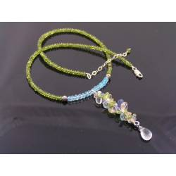 Sea Glass - Gemstone Necklace with Blue Topaz, Vesuvianite, Tanzanite