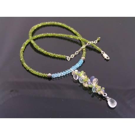 Sea Glass - Gemstone Necklace with Blue Topaz, Vesuvianite, Tanzanite