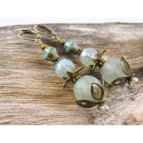 Mint Green Czech Bead Earrings