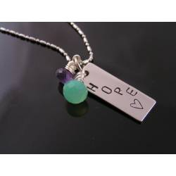 Chalcedony, Amethyst and 'HOPE' Necklace, Hand Stamped