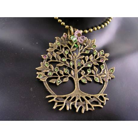 Tree of Life Necklace with Crystals