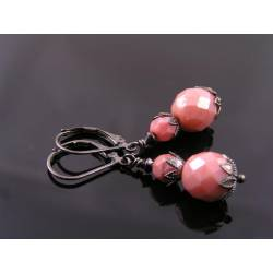 Gunmetal Earrings with Soft Pink Czech Beads