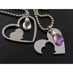 Matching Partner Necklace, Couple Necklace, Heart Necklaces