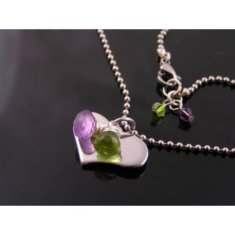 Heart Necklace with Amethyst and Peridot, Customisable with Initials
