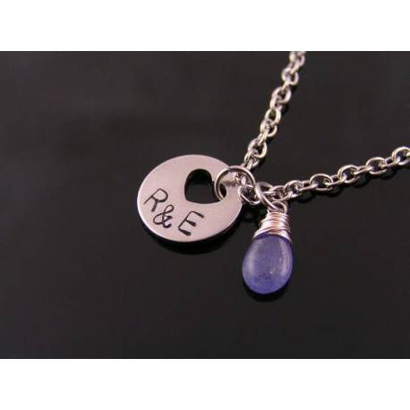 Super Cute Initial Necklace with Genuine Tanzanite