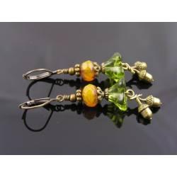 Acorn Charm Earrings, Czech Flower Beads
