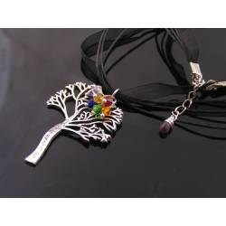 Silver Tree of Life Necklace with Chakra Colour Crystals