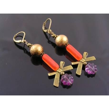 Bright Czech Glass Bow Earrings