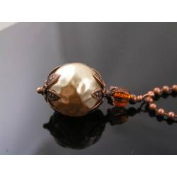 Large Faceted Pearl Copper Necklace