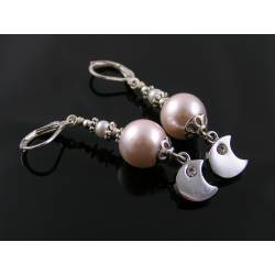 Pearl Earrings with Crescent Moon Charms