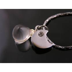 Moon Rock with Crescent Moon Charm Necklace