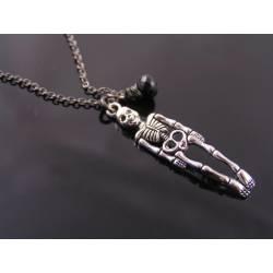 Minimalistic Gothic Skeleton Necklace, Black Spinel