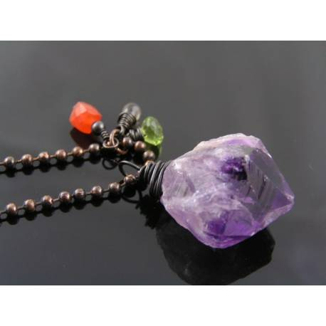 Large Chunky Amethyst Necklace with Carnelian, Smokey Quartz and Peridot
