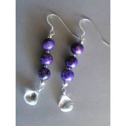 Sugilite and Rock Quartz Sterling Earrings