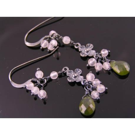 Vesuvianite and Rose Quartz Sterling Silver Earrings