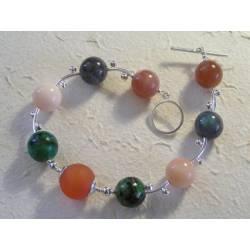 Sunstone, Opal, Chrysocolla and Carnelian Solid Sterling Silver Bracelet, Classic Gemstone Bracelet, Handmade Sterling Bracelet