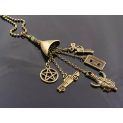 Supernatural Charm Necklace, Dean Winchester Amulet Necklace, Supernatural Jewelry with Dean's and Sam's Birthstones
