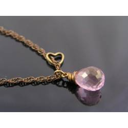 Large Mystic Pink Quartz Necklace with Heart Charm