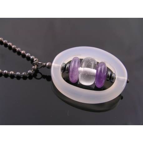 Modernistic Necklace with White Agate, Amethyst, Quartz and Hematite