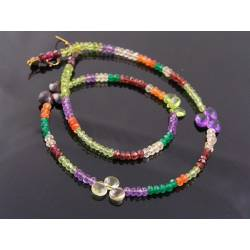 Colourful Faceted Gemstone Necklace, 14K
