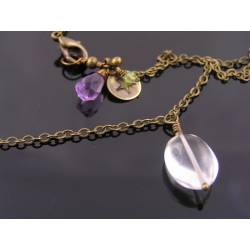 Rock Quartz Necklace, Quartz, Amethyst and Peridot
