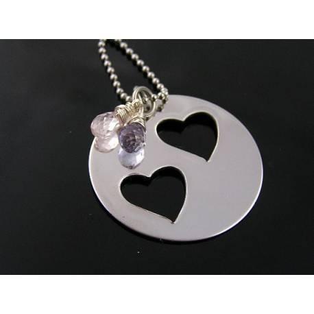 Partnership Necklace, Rose Quartz and Lilac Quartz Necklace