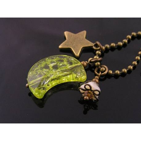 Crescent Moon, Star and Flower Charm Necklace